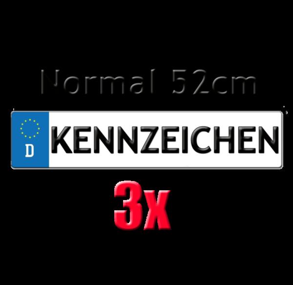 3x Autokennzeichen 52cm